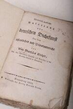 Theoretisch Práctico Manual Para Alemán Dichtkunst Stelzer Straubing 1818