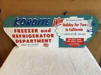 WOW Vintage KORDITE FREEZER Refrigerator Advertising AIRLINES Bikini Metal SIGN