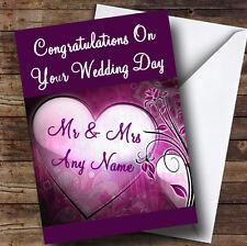 Violet Cœur Personnalisé Mariage Carte de vœux