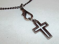 Necklace ~GUESS Open Cross Pendant Toggle Closure Wheat Chain NEW #5410100