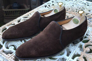 John Lobb Edward Brown Suede Loafers Shoes UK 8E 7000