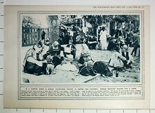 1915 WWI WW1 PRINT SERBIAN REFUGEES WAITING FOR A TRAIN