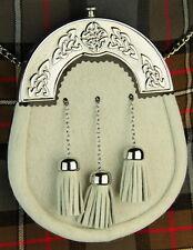 New Celtic Design White Fur Sporran with 3 White Fur Tassels