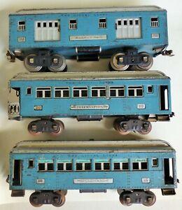 look-price drop-rare! LIONEL PREWAR STD GA #309 #310 #312 PASS SET BLUE - SILVER