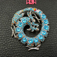 Betsey Johnson Blue Rhinestone Cute Dragon Charm Woman Brooch Pin