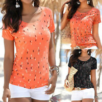 Women Casual Summer Loose Short Sleeve Printed T-Shirt Blouse Top T-shirt