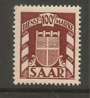 Saar Germany 1949 Revenue 100Fr Superb Mint Never Hinged