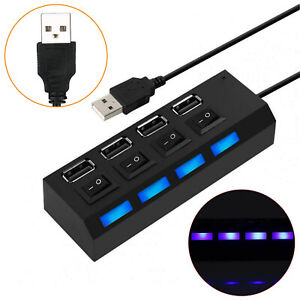 High Speed Multi 4 Port USB 2.0 Hub Splitter Expansion Adapter with Power Switch