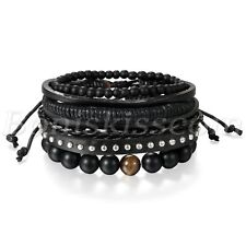 4pcs Handmade Multilayer Leather Rivet Buddha Beads Bracelet Cuff Set Adjustable