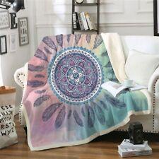 Throw Blanket Mandala Bohemian Style Fleece Bedding Velvet Plush Pink And Blue