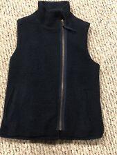 J Crew Black Faux Fur Fleece Vest Jacket Zipper Front Womens XXS 2XS 0