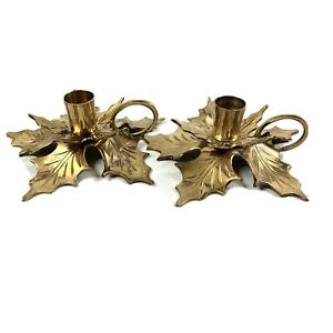 Vintage Brass Poinsettia Taper Candle Holders Christmas Holiday Decorations