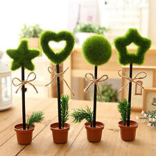 1x Novelty Green Grass Flower Pot Writing Pen Ball-point Pens Stationery :
