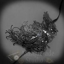 Womens Beautiful Swan Laser Cut Filigree Metal Masquerade Prom Mask [Black]
