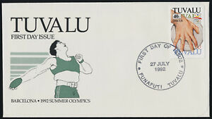 Tuvalu 612 on FDC - Olympic Sports, Discus