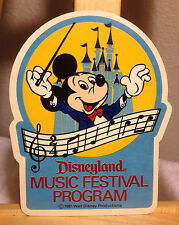 Disneyland Music Festival Program Sticker participants only unused! 1981 Mickey