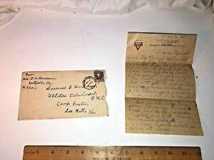 Vintage WW13 Cent George Washington Stamp Grey Blue Military Letter VT France