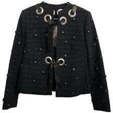 Chloe Jacket Embossed Eyelet Textured Black Size XS Leather Band Stud Studs