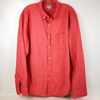 Men's J.CREW  XL Pink Quality Woven Button Front Long Sleeve Shirt 100% Cotton