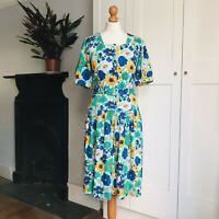 Vintage 80s White Blue Green Orange Bold Floral Print Belted Cotton Dress 10