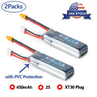 2x 450mAh 2S 7.4V LiPo Battery Pack 160/80C XT30 Plug for Micro FPV Racing Drone