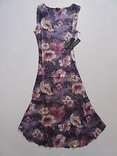 NWT KOMAROV Petite Purple Floral Print Lace Trim Sleeveless V-Neck Dress PM