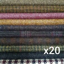 """British Tweed 20 Pieces 100%Wool 10x10cm 4x4"""" Remnant OffCut Squares *Not Harris"""