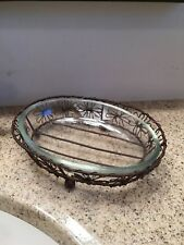 Rustic Brown Flower Oval Soap Dish With Glass Liner - 460084GR - New!