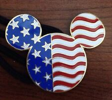 Disney Cast Exclusive Trading Pin Lanyard ID Holder Mickey USA Patriotic US FLAG