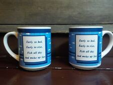 2 Vintage Fishing Coffee Mugs  Fish All Day and Make Up Lies Verse