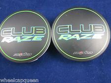 CLUB RAZE  BLACK/ LIME GREEN  CUSTOM WHEEL CENTER CAP #DC0202   (2)