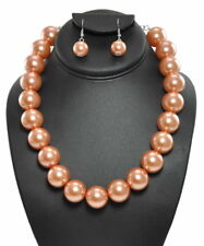 Brown Colored Faux Pearl Necklace Set