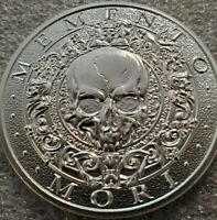 "NEW! Memento Mori "" Carpe Diem ""  2 oz .999 Silver skull death rider large 50mm"