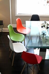 Set of Four (4) Red - Eames Style Wood Legs plastic Eiffel Dining Room Chairs