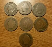 Lot of 7  U.S. Indian Head Cents, Pennies From 1880s