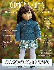 """CROSSOVER COLLAR ARAN-AG""--Knitting Pattern for 18"" American Girl Dolls"