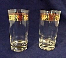 Lovely Htf Pair of Vintage 10 oz Glasses wGold Garland Trimmed Heavy Bottoms