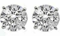 14K GOLD DIAMOND (simulated) ROUND SHAPE STUD EARRINGS - BUY 2 GET 1 FREE!