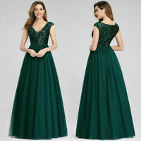 Ever-Pretty Sequins A-Line Bridesmaid Dress V-neck Lace Evening Prom Gown 00983