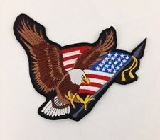 """Patriotic Embroidered Biker Patch Eagle American Flag Large 10"""" X 8"""""""