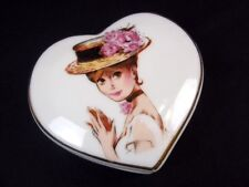Heart shaped porcelain candle in trinket box Lady in Hat on lid Japan gold rim