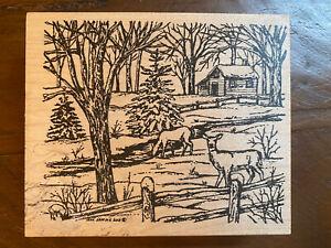 Winter Deer Cabin Scene Wood Mounted Rubber Stamp Northwoods P9362