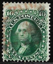 "Sc #68 ""Red PAID"" Fancy Cancel SON 10 Cent Washington 1861 Civil War US 1645"