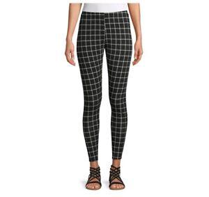 No Boundaries Women's Ankle Leggings sz 3XL Black/White Plaid Elastic Waist New
