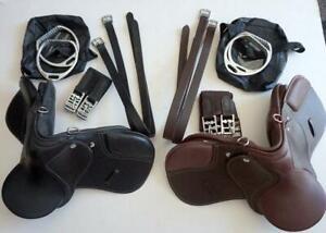 """9"""" Brown English Style Saddle Dog Costume Rocking Horse +Leathers Irons Girth-4p"""
