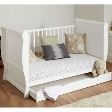 WHITE SLEIGH COT BED COTBED WITH UNDER BED STORAGE DRAWER & Sprung MATTRESS