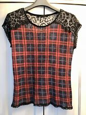 Oui, Tartan And Leopard Print Top With Lace Shoulders, Size 14/40