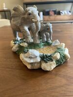 Vintage Resin Elephant Figurine. Mom And Baby Elephant.