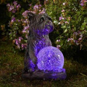 Mystic Dog Light Up Garden Ornament Solar Powered Gazing Ball Multicoloured LED