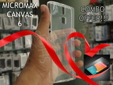 COMBO : SNS TRANSPARENT BACK CASE COVER & TEMPERED GLASS FOR MICROMAX CANVAS 6